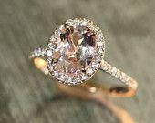 Artigos similares a NEW DESIGN!Vintage Morganite and Diamond Ring /Morganite ring/Morganite engagement ring/moissanite ring/morganite band/morgaite wedding ring no Etsy, um mercado global de artigos vintage e feitos à mão.