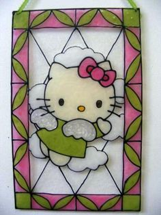 Resultado de imagen para catálogo pinturas vitrales eterna Stained Glass Designs, Stained Glass Projects, Stained Glass Patterns, Mosaic Art, Mosaic Glass, Hello Kitty, Diy Hanging Planter, Baby Crafts, Merry