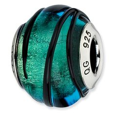 Sterling Silver Reflections Teal w/Black Stripes Italian Murano Bead