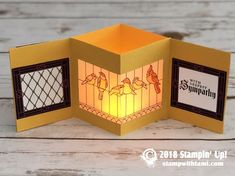How to make a Stained Glass Tea Light Lantern Card featuring Stampin Up Fun Fold Cards, Pop Up Cards, Folded Cards, Xmas Cards, Tea Light Lanterns, Tea Lights, Paper Lanterns, Card Making Tutorials, Making Ideas