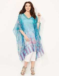 Vibrant and exotic, this sheer, silky caftan layers beautifully over your favorite outfits. V-neck style features a flourishing print in bold colors for an island feel. Complete with draping sleeves and an asymmetrical hem that falls longer on each side. Catherines tops are designed for the plus size woman to guarantee a flattering fit. catherines.com