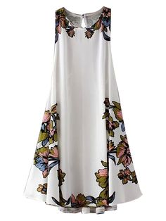 White Floral Lace Up Back Cut Away Swing Dress