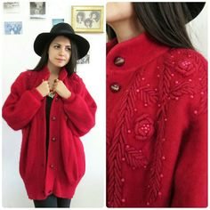 Hey, I found this really awesome Etsy listing at https://www.etsy.com/listing/257589040/vintage-red-sweater-coatbuttoned-up
