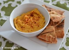 Baked Sweet Potato Hummus - free on Extra Easy and Green days Slimming World Eating Out, Slimming World Vegetarian Recipes, Slimming Eats, Slimming World Recipes, Savory Snacks, Healthy Snacks, Healthy Eating, Healthy Recipes, Skinny Girl Recipes