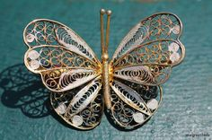Vintage 3-dimensional Gold Washed 800 Silver Filigree Butterfly Brooch Pin via Etsy