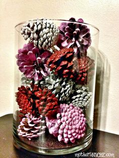 These painted pine cones would make a cute centerpiece for a #valentineswedding | mothersniche.com