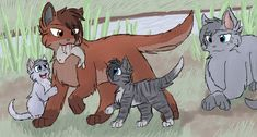 Oakheart and his Kits by CascadingSerenity.deviantart.com on @DeviantArt // Omsc, they're so cute! I- I- *Dies from cuteness over load* [May StarClan light her path...]