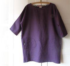 Women linen long tunic plus size dress tunic.