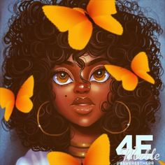 Hazell staring at butterflies : Duane Caleb - Rain ☔️ Black Love Art, Black Girl Art, African American Art, African Art, Drawings Of Black Girls, Black Girl Cartoon, Natural Hair Art, Black Art Pictures, Art Africain