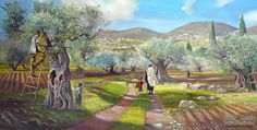 ~Picking the Olive Near Tzfat~ painting by Alex Levin