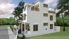 Simple Home Design Plan with 3 Bedrooms. This villa is modeling by SAM-ARCHITECT With 2 stories level. It's has 3 bedrooms. Narrow House Plans, 3d House Plans, Cottage Style House Plans, Basement House Plans, Simple House Plans, Model House Plan, Duplex House Plans, House Layout Plans, House Layouts