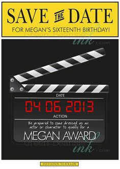 BROADWAY HOLLYWOOD Save The Date Printable Party Invitation Printing Available