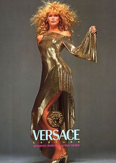 versace ads   1994 Versace Avedon Claudia Schiffer Gold Magazine AD   eBay