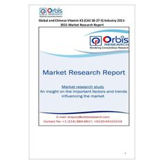 The ''Global and Chinese Vitamin K3 Industry, 2011-2021 Market Research Report'' is a professional and in-depth study on the current state of the global Vitamin K3 industry with a focus on the Chinese market.   Browse the full report @ http://www.orbisresearch.com/reports/index/global-and-chinese-vitamin-k3-cas-58-27-5-industry-2011-2021-market-research-report .  Request a sample for this report @ http://www.orbisresearch.com/contacts/request-sample/96196 .