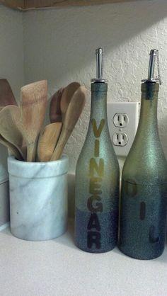 Old wine bottles turned oil and vinegar dispensers! Super easy to make!