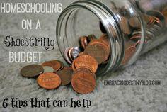 6 tips for homeschooling on a shoestring budget at embracingdestinyblog.com