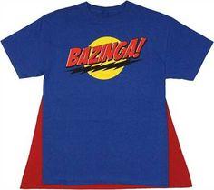 Big Bang Theory Bazinga Blue Caped T Shirt just 12.99!