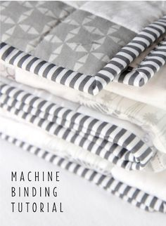 Machine Binding Tutorial - learn how to sew a perfect mitered binding. Step by Step Photos.