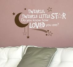 Nursery Quote Decal Twinkle Twinkle Little Star Do You Know How Loved You Are - Children Wall Decal. $25.00, via Etsy.