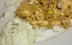 Recette - Poulet au curry vert et sa sauce rafraîchissante au concombre   750g