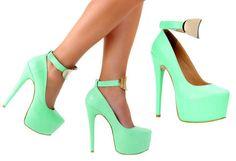Parlak renkli yeşil platform ayakkabı
