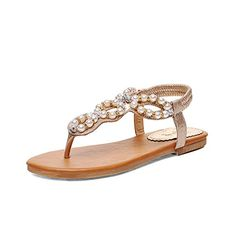 e2ed66f2c8a Lucksender Womens Flat TStrap Beads Ankle Strap Thong Sandals 10BMUS Golden    Continue to the product