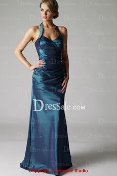 Amazing Halter Sheath Evening Gown with Finely Pleated Details