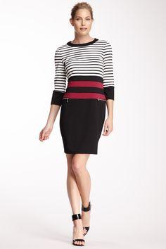Crew Neck Striped Dress