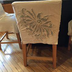 An Alabama Chanin inspired kitchen bar stool.