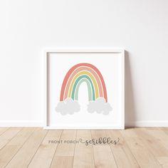 Nursery Art, Girl Nursery, Girls Bedroom, Nursery Ideas, Rainbow Nursery Decor, Rainbow Bedroom, Yellow Playroom, Rainbow Highlights, Rainbow Decorations