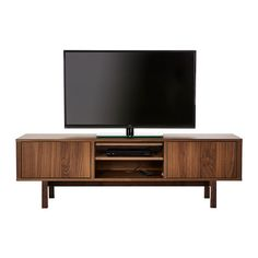 IKEA - STOCKHOLM, TV bench, walnut veneer, The TV bench in walnut veneer with legs of solid ash brings a warm, natural feeling to your room. The distinctive grain pattern in the walnut veneer gives each piece of furniture a unique character. Ikea Stockholm, Tv Banco, Living Tv, Living Room, Walnut Veneer, Tv Cabinets, Tv Unit, Entertainment Center, Home Furnishings