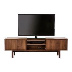 STOCKHOLM TV-benk IKEA TV-benken i valnøttfiner med bein av massiv ask, gir en varm, naturlig følelse til rommet ditt.