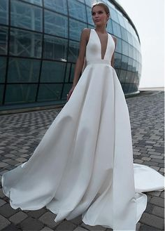 Buy discount Modest Satin Jewel Neckline Cut-out Back Full-length A-line Wedding Dress With Bowknots at Magbridal.com #weddingdress