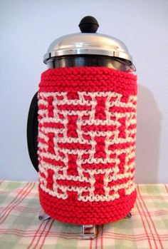 French Press Cozy Red and Cream Basketweave by CozyKitchenKnits, $18.00