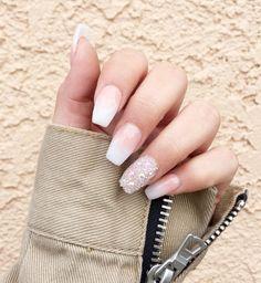 Acrylic Pink White Ombre Swarovski Press On Nails Any Shape