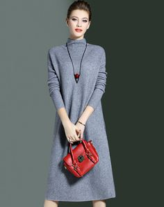 #AdoreWe #VIPme Sweater Dresses - CYANINE SEA Grey Drop Shoulder Sweater Midi Dress - AdoreWe.com