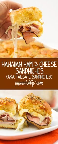 Hawaiian Ham and Cheese Sandwiches (aka: Tailgate Sandwiches) - BEST sandwiches ever.