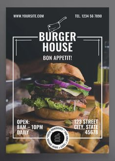 Burger Restaurant Flyer and Poster Template - Design Template Place Poster Design Layout, Food Poster Design, Poster Design Inspiration, Flyer And Poster Design, Food Graphic Design, Food Menu Design, Graphic Designers, Restaurant Poster, Restaurant Restaurant