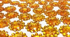 Amber Faceted Acrylic Flower Sew On Jewels  by supplysideeconomics