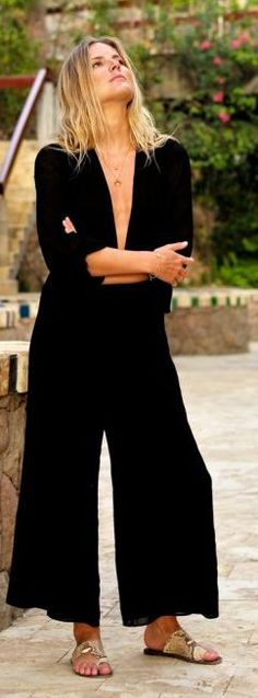 Fashion Me Now Black Plunge Jumpsuit Fall Inspo