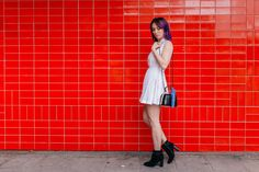 fashion blogger, greta constantine, white dress, purple hair, black booties, streetstyle
