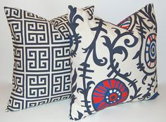 Decorative Throw Pillow Covers Navy and Red Suzani Combo Pillowcase Throw Pillow Cushion Covers 18 x 18 Inches Pair of Two. $32.00, via Etsy.