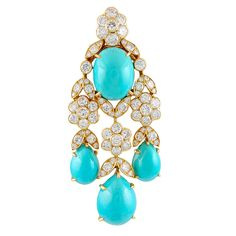 Van Cleef & Arpels Diamond and Turquoise Pin and Pendant, 1973