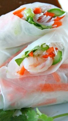 Shrimp Spring Rolls with Sweet and Spicy Peanut Dipping Sauce Recipe
