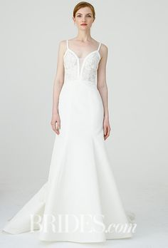 """Brides.com: . """"Britt"""" Faille de Soie slim fit-to-flare gown with sheer silk organza bodice with French lace hand appliqué, Amsale"""
