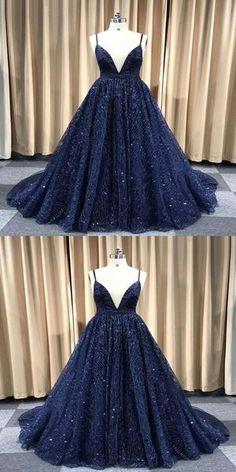 2578de73 Navy Blue Deep V-Neck Spaghetti Straps Sequined Floor Length Prom Dresses ,VPPD171