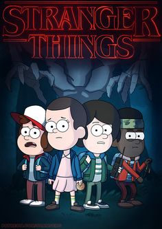 Stranger Things in the style of Gravity Falls. Dustin Henderson, Eleven, Mike Wheeler, and Lucas Sinclair.
