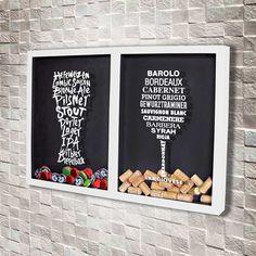Quadro Misto para Rolhas e Tampinhas – Tipos de Vinho e Cerveja Mixed Frame for Stoppers and Lids – Types of Wine and Beer Home Bar Decor, Home Decor Items, Home Decor Accessories, Wine Cork Shadow Box, Wine Cork Art, Shabby Chic Stil, Wine Decor, Wine And Beer, Colour Schemes