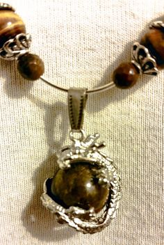 Silver Dragon and Tiger Eye Pendant Necklace and Hoop Earring Set - Dragon Jewelry Set - Tiger Eye Jewelry