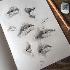 "3,575 Likes, 15 Comments - Miroslav Zgabaj (@miro_z_art) on Instagram: ""Sketchbook #lips #study #sketch #sketching #sketchbook #paper #pencil #draw #drawing #art…"" Pencil Drawing Tutorials, Drawing Art, Drawing Ideas, Drawing Studies, Art Studies, Drawing Sketches, Sketch Art, Paper Drawing, Sketching"